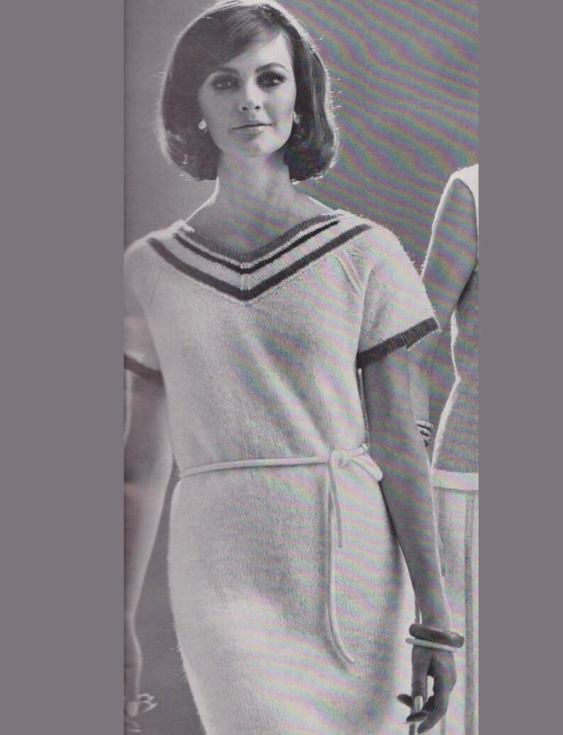 29a7a033ea5 Women s V-Neck Shift Dress Vintage Knitting Pattern