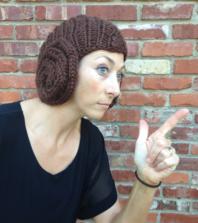 Princess Leia Bun Hat knitting pattern for cap with earflap  eac9d312126