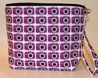 Designer Purple Cameras print project bag