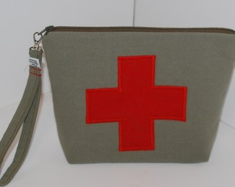 Red Cross appliqued project bag