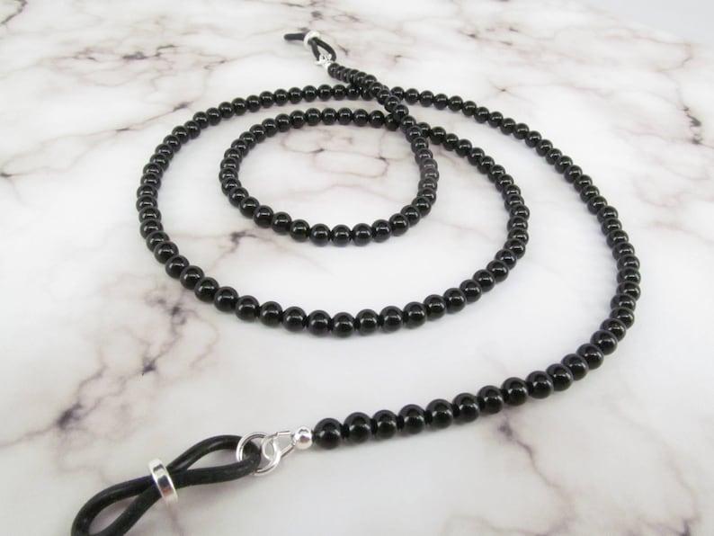 739f9fd27965 Genuine black onyx beaded eyeglass chain reading glasses