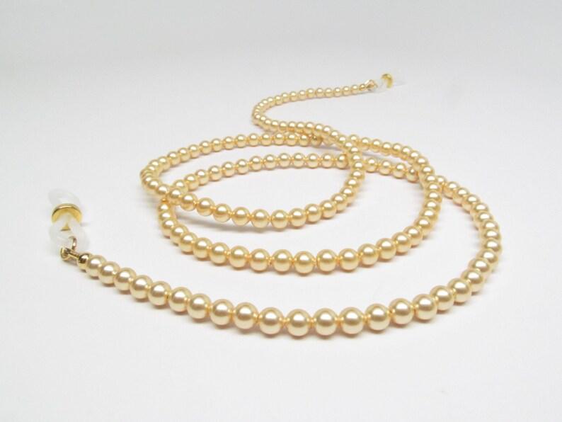 4a7506d85f7c Bright gold pearl eyeglasses chain gold eyeglass chain