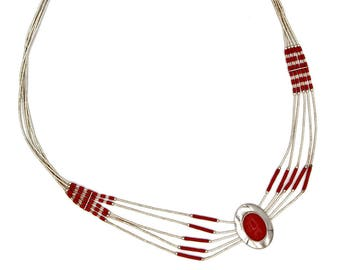 Red Coral Liquid Silver, 925 Sterling Silver, Navajo Concho Oval, Southwestern Necklace, Multi Strand Necklace, Vintage 80s Indian Jewelry
