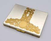 Gold Silver Metal Cigarette Case, Business Card Holder, Two Tone Scroll Design Tobacco Box, Smokers Gift, Vintage 1950s Cigarette Holder