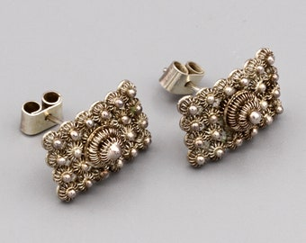 Small Rectangle Stud Earrings Ethnic Style Jewelry Etruscan Flowers Accents Sterling Post Earrings Baroque Floral Studs Handmade Jewelry