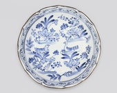 Jitsu To Japan, Asian Blue and White Transferware Porcelain Bowl, Vintage Japan Export Porcelain Arita Imari Inspired Dish Birds And Flowers