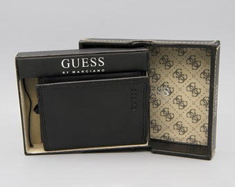2af65145b411e1 Guess by Marciano Unused Boxed Leather Wallet for Men, Black Cowhide Leather  In Original Box, Folding Wallet with Pockets, New Old Stock