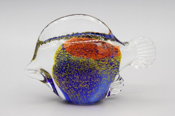 Small Blown Glass Fish Figurine Collectible Handicraft Tropical Nautical Decor
