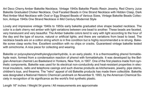 Art Deco Cherry Amber Bakelite Necklace, Vintage … - image 10