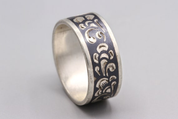Soviet Ring Russian Niello Ring 875 Sterling Silver Floral Cigar Band Ring Ring Size 7 Traditional Russian Jewelry Soviet Jewelry