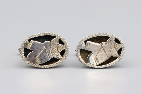 Pre-Eagle Signed Mexico 925 ME Large Cufflinks Mexican Sterling Silver Blue Rhinestone Cuff Links