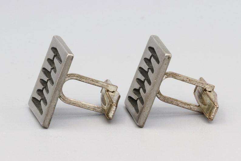 Signed BT Borje Tennung Sweden Modern Brutalist Square Cuff Links Scandinavian Mid Century Mod Jewelry Abstract Pewter Mens Cufflinks