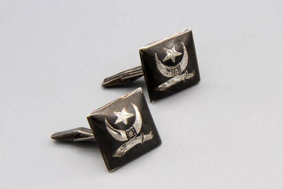 Black And Silver Cuff Links, Etched Stamped Sterli