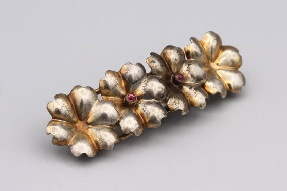 Sterling Silver Floral Hair Barrette Clip, Rose Go
