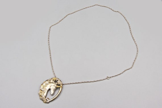 Magic Unicorn Pendant Necklace, Gorham Sterling T… - image 6