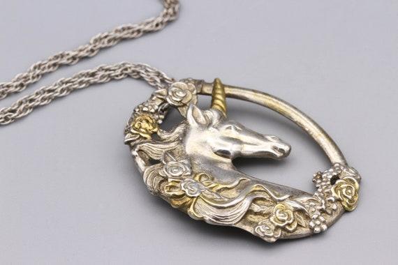 Magic Unicorn Pendant Necklace, Gorham Sterling T… - image 7