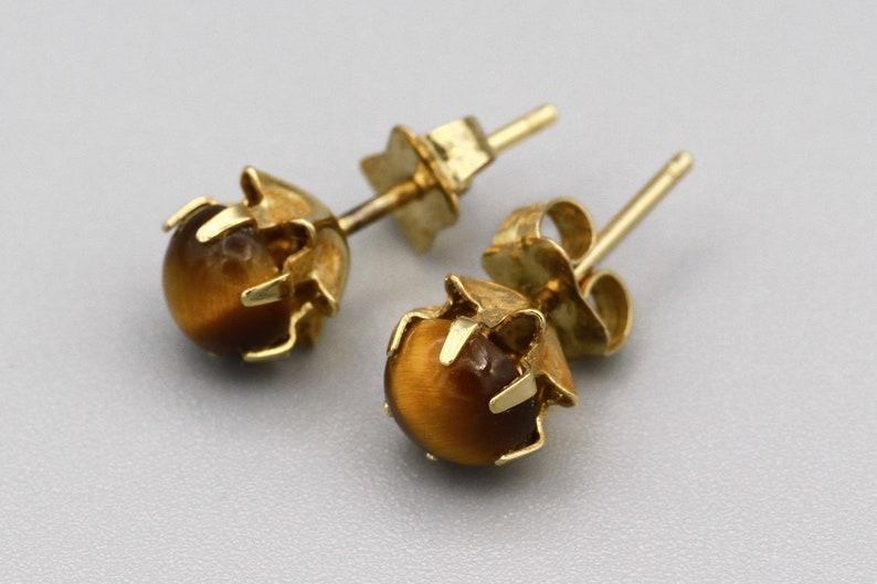 Tigereye Ball Stud Earrings Brown Gemstone Small Circle Earrings Round Semi Precious Stone Studs 14K Yellow Gold Tigers Eye Stud Earrings