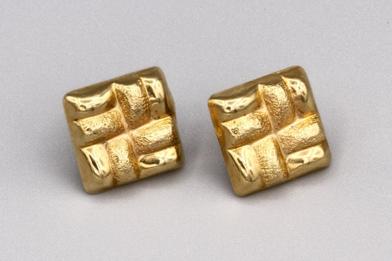 Square 14K Yellow Gold Button Stud Earrings, Puffy