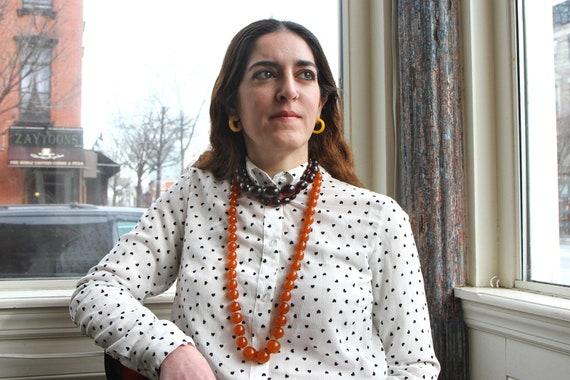 Extra Large Honey Amber Graduated Mod Necklace, Ro