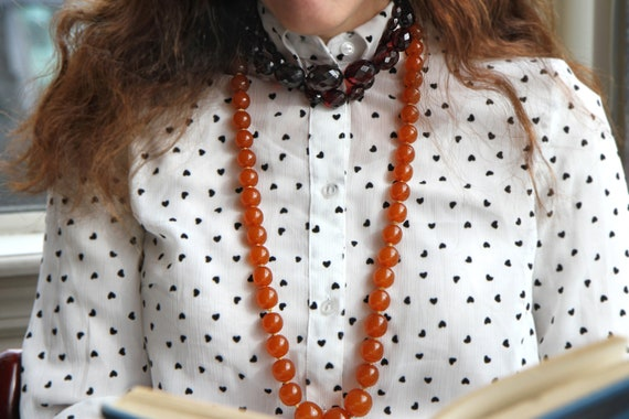 Extra Large Honey Amber Graduated Mod Necklace, R… - image 6