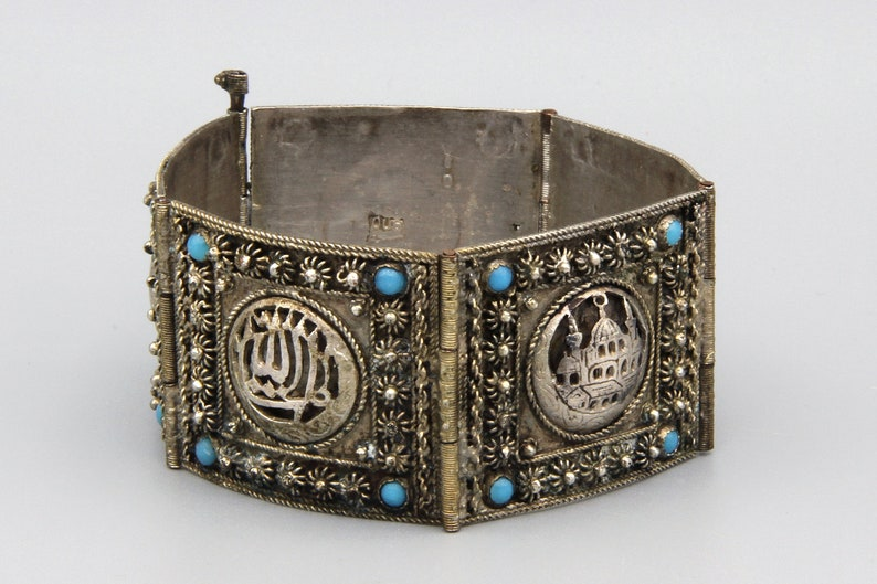 Antique 1920s 900 Silver Panel Link Bracelet, Middle Eastern Ottoman  Jewelry, Turquoise Glass Cabochons Wide Bracelet, Old Islamic Jewelry