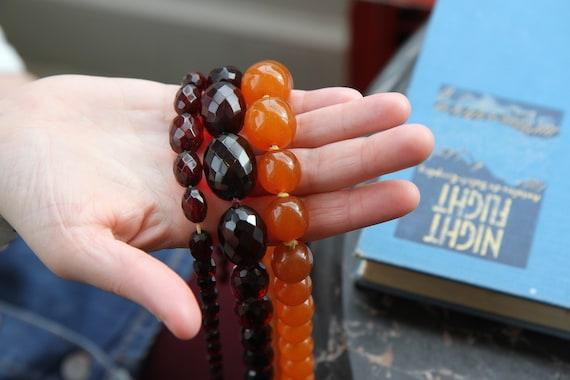 Extra Large Honey Amber Graduated Mod Necklace, R… - image 9