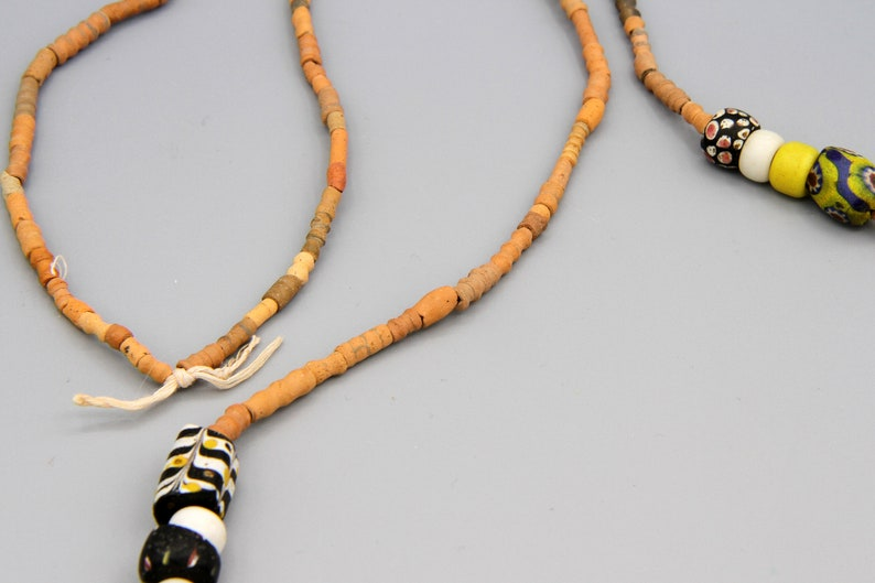 Antique 1800s African Beads Collection Ancient Terracotta Beads Necklace Mali Tombs Clay Beaded Necklace West African Multicolor Jewelry