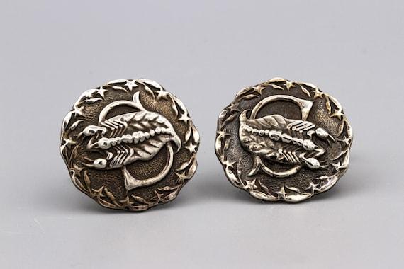 Zodiac Scorpio Cuff Links, 900 Silver Embossed Cuf