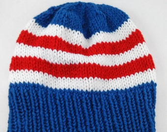 Knitting PATTERN ONLY - Captain America Slouchy Beanie