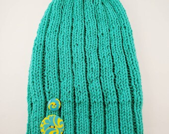 Turquoise Ribbed Slouchy Knit Beanie With Buttons