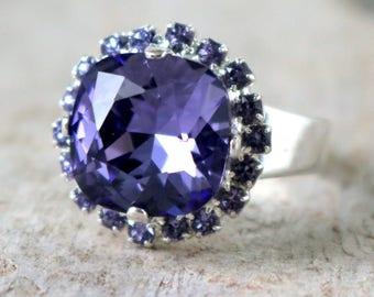 Tanzanite | Purple Tanzanite | Swarovski Ring | Custom Colors | Swarovski Crystal | Cushion Cut | Square Ring | Bridal | Wedding Jewlery