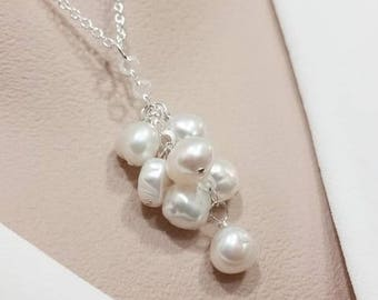 Pearl Cluster Necklace - Bridal Pearl Necklace, Freshwater Pearl, Bridesmaid Gift, Birthday June Gift, Cluster Dangle Pendant
