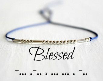 Minimalist Morse Code Bracelet Blessed Bracelet Gift for Her Dainty Motivational Jewelry Silk Cord Sterling Silver Tiny Beads Bracelet