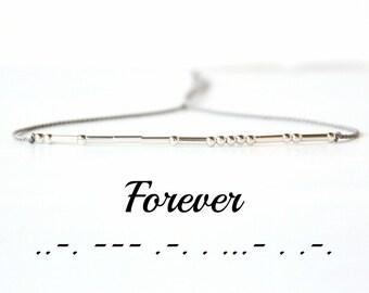 Valentines Day Gift Forever Morse Code Bracelet Best Friend Inspirational Minimalist Jewelry Silk Cord Sterling Silver Bead Bracelet