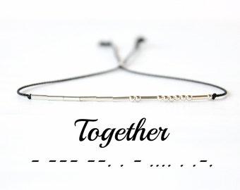 Valentines Day Gift Together Morse Code Bracelet Skinny Silk Cord Sterling Silver Beaded Bracelet Minimalist Best Friend Jewelry