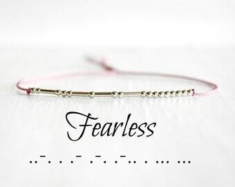 Fearless Morse Code Bracelet Inspiration Motivational Jewelry Valentines Day Gift Minimalist Silk Cord  Sterling Silver Beaded Bracelet