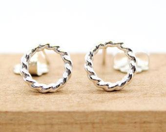 Circle Stud Earrings Cartilage Stud Earrings Helix Second Hole Earring Sterling Silver Dainty Small Stud Earrings Simple Single Stud Earring