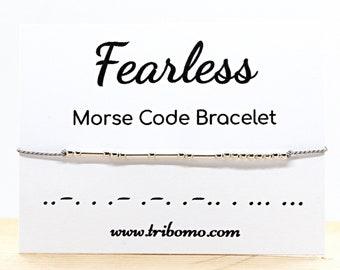 Fearless Morse Code Bracelet Inspiration Motivational Jewelry Friendship Bracelet Minimalist Silk Cord Sterling Silver Beaded Bracelet