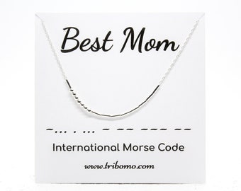 BEST MOM Morse Code Necklace Sterling Silver Beaded Necklace Custom Morse Code Jewelry Secret Message Meaningful Necklace Mama Morse Code