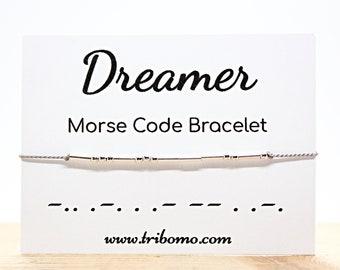 Motivational Bracelet Custom Morse Code Bracelet Encouragement Gift Inspirational Jewelry Secret Hidden Message Dainty Silk Cord Bracelet