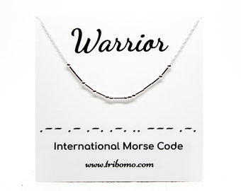 WARRIOR Morse Code Necklace Fighter Inspirational Meaningful Necklace Motivational Custom Morse Code Jewelry Sterling Silver Bead Necklace