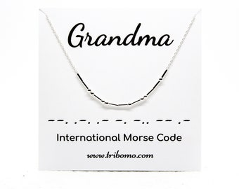 GRANDMA Morse Code Necklace Custom Morse Code Jewelry NANA GRANDMOTHER Necklace Meaningful Gift Sterling Silver Dainty Beaded Necklace