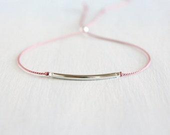Minimalist Friendship Silk Cord Bracelet Best Friend Gift Dainty Jewelry Sterling Silver Thin Tube Delicate Bracelet