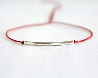 Minimalist Friendship Bracelet Silk Cord Bracelet Best Friend Jewelry Gift Sterling Silver Dainty Bracelet Thin Tube Bracelet
