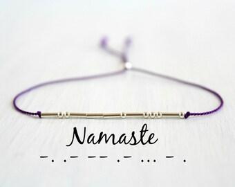 Minimalist Dainty Purple Silk Cord Namaste Bracelet Bohemian Jewelry Sterling Silver Morse Code Beaded Bracelet