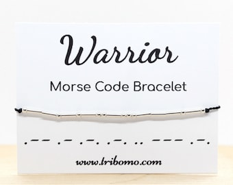 Warrior Morse Code Bracelet Inspirational Sterling Silver Morse Code Bracelet Motivational Jewelry Dainty Silk Cord Bead Bracelet