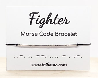 Fighter Morse Code Bracelet Strong Warrior Motivational Bracelet Inspirational Morse Code Jewelry Thin Silk Cord Silver Bead Bracelet