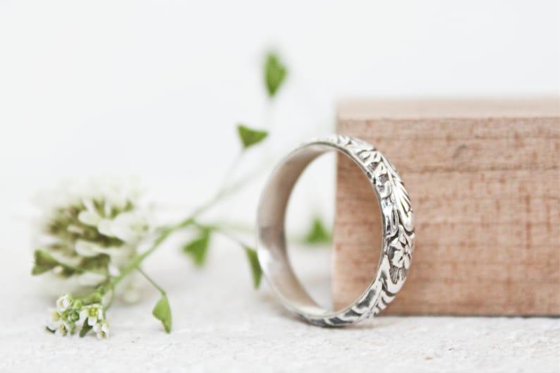 22f2c043e0816e Leaf Flower Wedding Band Ring Oxidized Sterling Silver Wide | Etsy