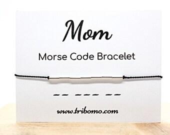 Mom Morse Code Bracelet Women Dainty Beaded Bracelet Sterling Silver Silk Cord Bracelet Expecting Mom Gift Custom Name Personalized Bracelet