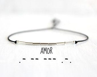 Amor Morse Code Bracelet Minimalist Love Jewelry Valentines Day Gift  Dainty Sterling Silver Beaded Love Morse Code Silk Cord Bracelet